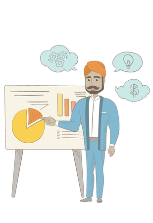 Hindu businessman giving business presentation. Man pointing at charts on board during presentation. Business presentation concept. Vector sketch cartoon illustration isolated on white background. Ilustração