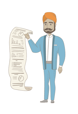 A Smiling hindu businessman showing document with business report. Full length of young businessman presenting business report. Vector sketch cartoon illustration isolated on white background. Ilustração