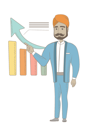 Hindu successful businessman pointing at chart going up. Businessman satisfied by his business success. Business success concept. Vector sketch cartoon illustration isolated on white background.