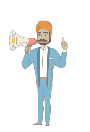 Hindu businessman with loudspeaker making announcement. Businessman making announcement through a loudspeaker and pointing finger up. Vector sketch cartoon illustration isolated on white background.