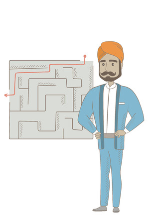 Hindu businessman thinking about business solution. Young businessman looking at labyrinth with solution. Business solution concept. Vector sketch cartoon illustration isolated on white background. 向量圖像