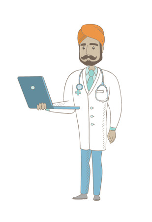 Indian doctor in medical gown using a laptop. Full length of young doctor working on a laptop. Cheerful doctor holding a laptop. Vector sketch cartoon illustration isolated on white background.