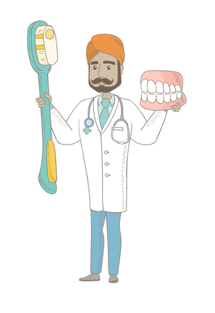 Young indian dentist holding dental jaw model and a toothbrush in hands. Dentist showing dental jaw model and toothbrush. Vector sketch cartoon illustration isolated on white background.