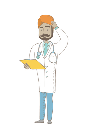 Confused indian doctor in medical gown scratching head while reading documents in clipboard. Young thoughtful doctor scratching head. Vector sketch cartoon illustration isolated on white background Illustration