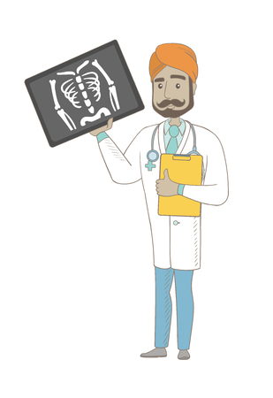 Indian doctor examining radiograph. Young doctor in medical gown looking at chest radiograph. Doctor observing skeleton radiograph. Vector sketch cartoon illustration isolated on white background.
