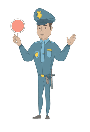 Traffic policeman holding a traffic sign and showing stop hand gesture. Hispanic traffic policeman directing cars with a signal paddle. Vector sketch cartoon illustration isolated on white background.