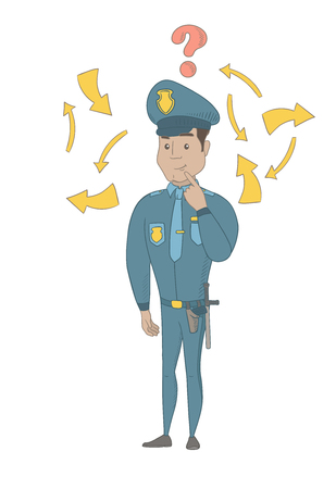 Hispanic policeman thinking about the investigation of a crime. Full length of young policeman thinking about the version of the crime. Vector sketch cartoon illustration isolated on white background.