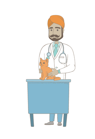Young indian veterinarian examining a cat in hospital. Veterinarian checking a cat in vet clinic. Concept of medicine and pet care. Vector sketch cartoon illustration isolated on white background.