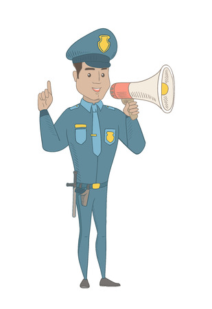 Hispanic policeman making an announcement with a loudspeaker. Full length of young policeman making announcement through a loudspeaker. Vector sketch cartoon illustration isolated on white background.