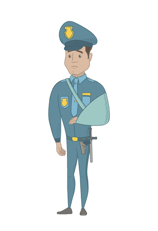 Injured hispanic policeman wearing an arm brace. Young policeman with broken arm in sling. Full length of policeman with injured arm. Vector sketch cartoon illustration isolated on white background. Illustration