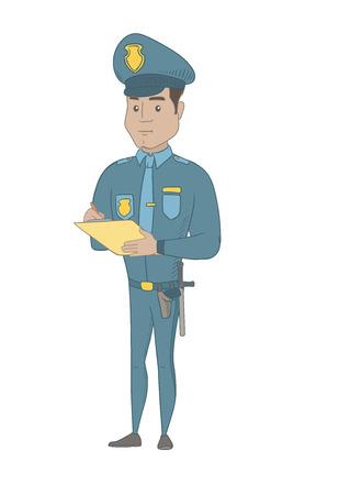 ヒスパニック系の交通警官はドライバーの罰金請求書を書きます。チケットを書く若い交通警官。ベクター スケッチ漫画イラスト白背景に分離しま  イラスト・ベクター素材