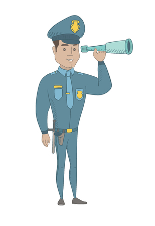 Hispanic policeman holding a spyglass. Young policeman looking through a spyglass. Policeman monitoring safety with a spyglass. Vector sketch cartoon illustration isolated on white background. Illustration