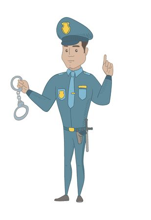 Hispanic policeman holding handcuffs and pointing his finger up. Full length of young policeman with finger pointing up. Vector sketch cartoon illustration isolated on white background. Ilustração