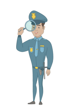 Hispanic detective with a magnifying glass. Young detective and a magnifying glass. Detective looking through a magnifying glass. Vector sketch cartoon illustration isolated on white background.