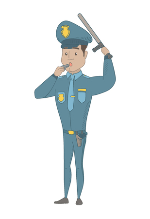 Hispanic police officer in uniform holding a truncheon and whistling. Full length of young police officer with whistle and truncheon. Vector sketch cartoon illustration isolated on white background.