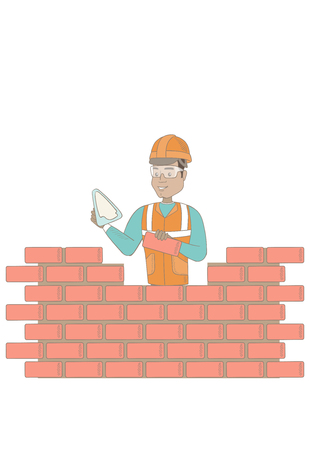 building site: Hispanic bricklayer in uniform and hard hat. Young bicklayer working with spatula and brick. Bricklayer building brick wall. Vector sketch cartoon illustration isolated on white background.