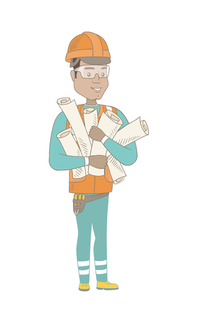Young hispanic engineer in hard hat holding many twisted blueprints in hands. Vector sketch cartoon illustration isolated on white background. Ilustração