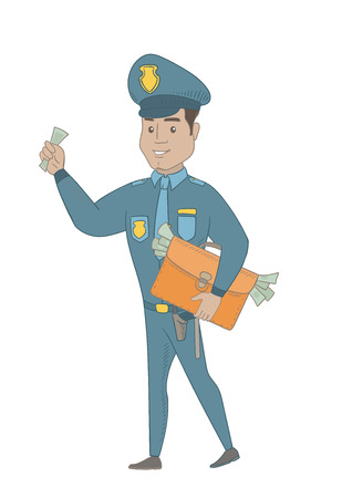 Young Hispanic policeman walking with a briefcase full of money after receiving of a bribe.Vector sketch cartoon illustration isolated on white background.