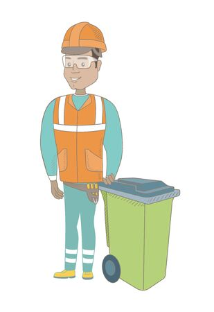 Hispanic builder in hard hat standing near waste bin. Full length of young builder pushing waste bin. Vector sketch cartoon illustration isolated on white background. Ilustração