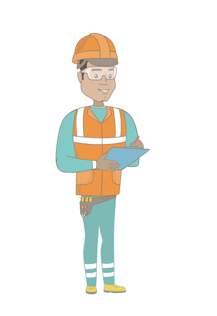 Hispanic building inspector making some notes in clipboard. Full length of young building inspector in uniform and hard hat at work. Vector sketch cartoon illustration isolated on white background.