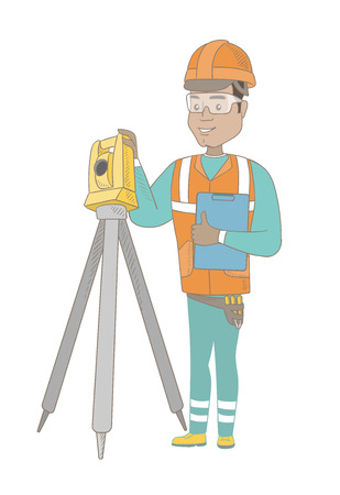 geodesy: Hispanic surveyor builder holding clippboard and working with theodolite. Young surveyor standing near theodolite transit equipment. Vector sketch cartoon illustration isolated on white background.