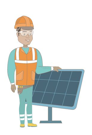 checking: Young hispanic worker of solar power plant. Engineer checking solar panel setup. Engineer standing on the background of solar panel. Vector sketch cartoon illustration isolated on white background.