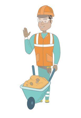 Hispanic builder standing near wheelbarrow full of sand. Young builder in hard hat waving his hand near wheelbarrow. Vector sketch cartoon illustration isolated on white background.