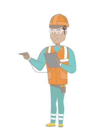 Young hispanic electrician in hard hat measuring the voltage output. Electrician holding equipment for measuring of voltage and current. Vector sketch cartoon illustration isolated on white background