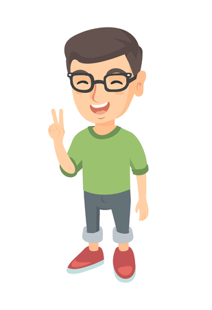Caucasian boy in glasses showing victory gesture. Little boy showing victory sign with two fingers. Vector sketch cartoon illustration isolated on white background.