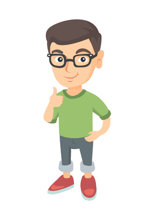 Caucasian little boy giving thumb up. Full length of smiling boy in glasses with thumb up. Cheerful boy showing thumb up. Vector sketch cartoon illustration isolated on white background.