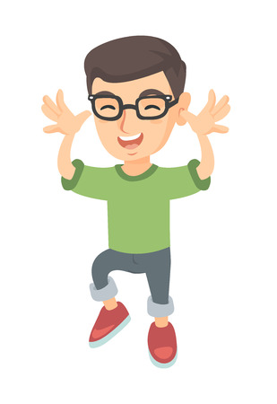 Funny caucasian boy in glasses making a grimace and playing with his hands. Happy little boy teasing with hands. Vector sketch cartoon illustration isolated on white background.