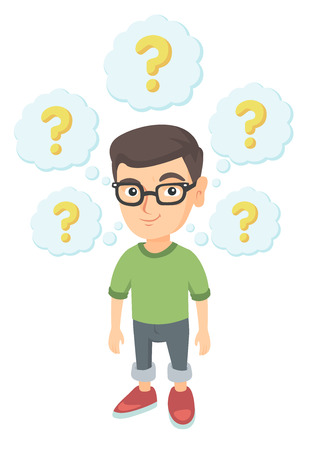 Caucasian thinking boy with question marks. Thoughtful little boy in glasses standing under question marks above his head. Vector sketch cartoon illustration isolated on white background. Illustration
