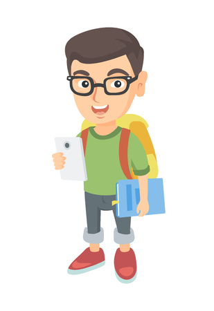 niños platicando: Caucasian smiling schoolboy with backpack using a cellphone. Little schoolboy in glasses holding cellphone and textbook in hands. Vector sketch cartoon illustration isolated on white background. Vectores