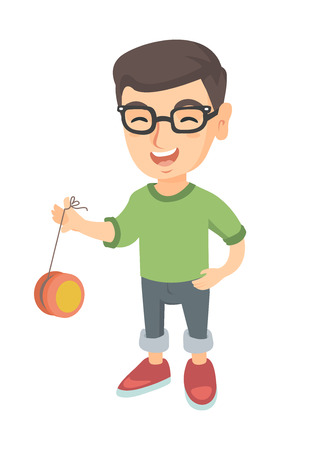 Caucasian boy in glasses playing with yo-yo. Full length of little boy with yo-yo toy. Vector sketch cartoon illustration isolated on white background. Illustration