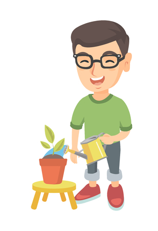 Caucasian boy in glasses watering plant with a watering can. Little laughing boy watering a flower growing in a pot. Vector sketch cartoon illustration isolated on white background.