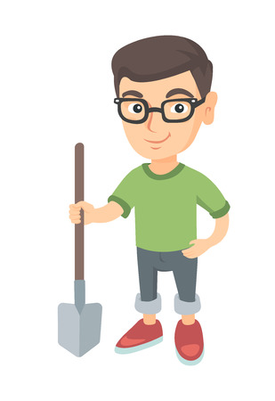 Caucasian smiling boy in glasses holding a shovel. Full length of little boy farmer in jeans standing with a shovel. Vector sketch cartoon illustration isolated on white background.
