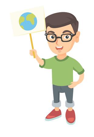 Muchacho caucásico en vidrios que sostiene un cartel con el planeta. Integral del niño pequeño respetuoso del medio ambiente con un cartel con tierra en la reunión. Ilustración de dibujos animados de dibujo vectorial aislado sobre fondo blanco. Vectores