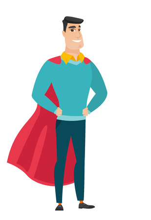 Successful businessman pose as a superhero in red cloak, vector flat design illustration isolated on white background