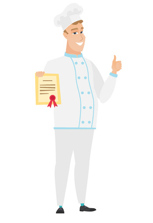 qualification: Caucasian chef cook holding a certificate. Full length of chef cook with certificate. Chef cook showing certificate and giving thumbs up. Vector flat design illustration isolated on white background.