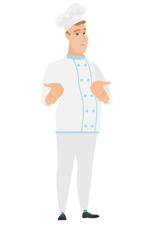 Confused caucasian chef cook shrugging his shoulders. Full length of doubtful chef cook gesturing hands and shrugging his shoulders. Vector flat design illustration isolated on white background. Illustration