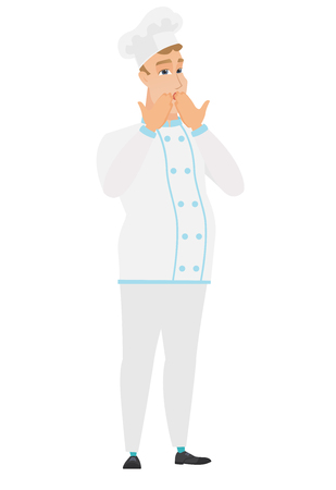 Shocked Caucasian chef cook covering his mouth with hand. Full length of shocked chef cook. Chef cook with a shocked facial expression. Vector flat design illustration isolated on white background.