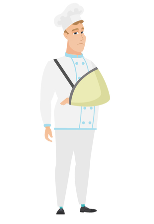 Injured Caucasian chef cook wearing an arm brace. Chef cook with broken arm in sling. Full length of chef cook in uniform with broken arm. Vector flat design illustration isolated on white background. Illustration