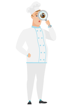 Shocked chef cook with magnifying glass. Full length of chef cook with magnifying glass. Chef cook looking through a magnifying glass. Vector flat design illustration isolated on white background. Illustration
