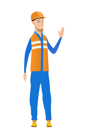 hi five: Young caucasian builder in hard hat waving his hand. Full length of builder waving hand. Builder making greeting gesture - waving hand. Vector flat design illustration isolated on white background.