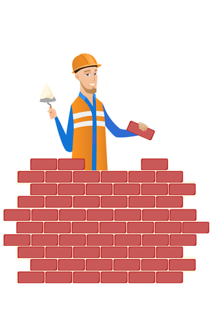 Caucasian bricklayer in uniform and hard hat. Young bicklayer working with spatula and brick. Bricklayer building brick wall. Vector flat design illustration isolated on white background.