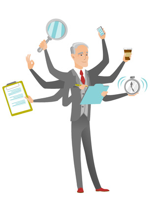 Caucasian businessman with many legs and hands coping with multitasking. Senior business person doing multiple tasks. Vector flat design cartoon illustration isolated on white background.