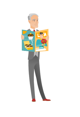 Successful caucasian businessman reading magazine. Senior businessman holding magazine. Full length of businessman with a magazine. Vector flat design cartoon illustration isolated on white background Illustration