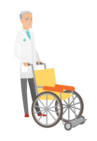 Caucasian doctor pushing an empty wheelchair. Full length of cheerful doctor standing near wheelchair. Senior doctor with wheelchair. Vector flat design illustration isolated on white background. Illustration