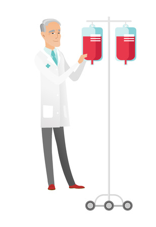 Caucasian doctor preparing drop counter. Full length of senior doctor standing near drop counter. Doctor with drop counter. Vector flat design illustration isolated on white background. 일러스트
