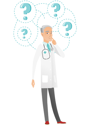 Senior Caucasian doctor looking at question marks above head. Full length of thoughtful doctor with question marks. Vector flat design illustration isolated on white background.